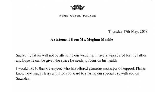 """Kensington Sarayı doğruladı: """"Meghan Markle'ın babası düğüne katılmayacak"""""""